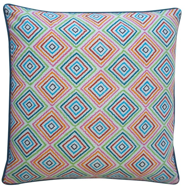 Jiti 'Squares' Blue 20-inch Pillow