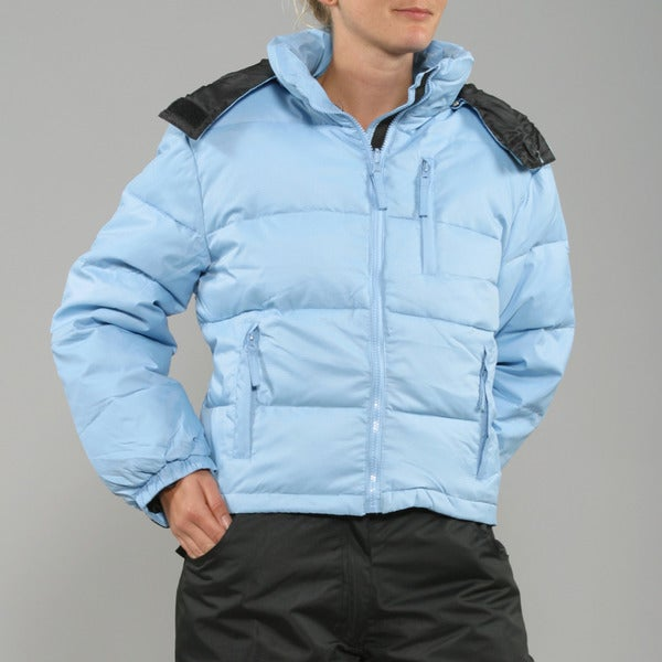 Sportscaster Women's Cornflower Blue Hooded Down Jacket
