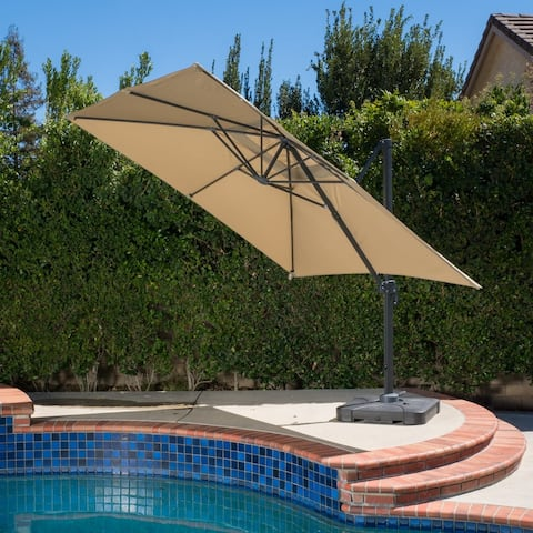 Royal Water-resistant Fabric Canopy Umbrella with Base by Christopher Knight Home
