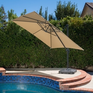 Link to Royal Water-resistant Fabric Canopy Umbrella with Base by Christopher Knight Home Similar Items in Patio Umbrellas & Shades