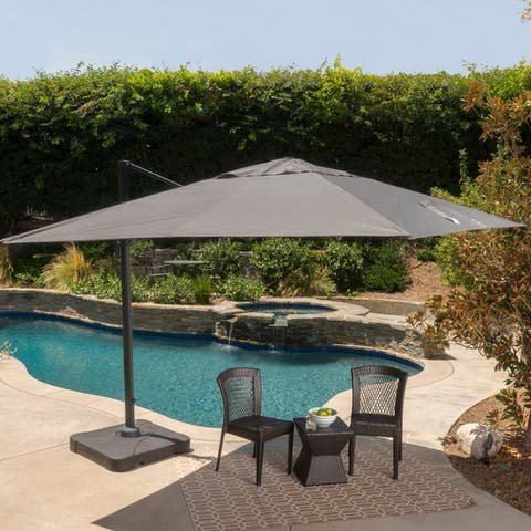 Royal Outdoor Modern Water-Resistant Fabric Canopy Umbrella with Base by Christopher Knight Home