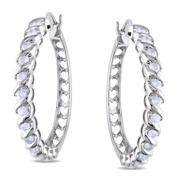 New!Miadora 14k White Gold 1ct TDW Diamond Hoop Earrings