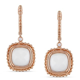 Miadora 14k Rose Gold White Onyx and Diamond Earrings