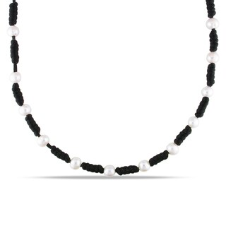 Catherine Catherine Malandrino Pearl and Black Chinese String Necklace (7.5-8 mm)
