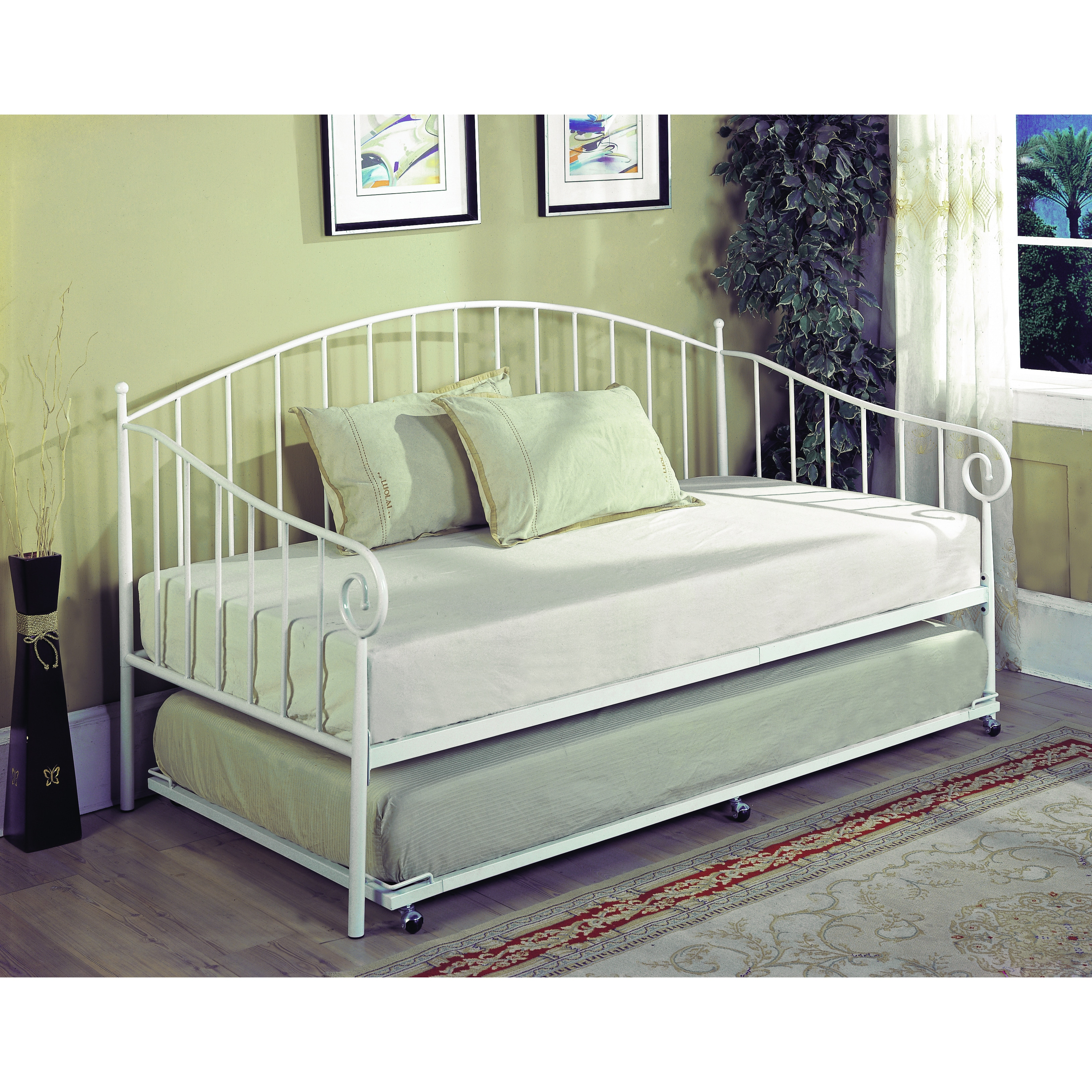 K&B BT01-WH White Finish Day Bed, Size Twin
