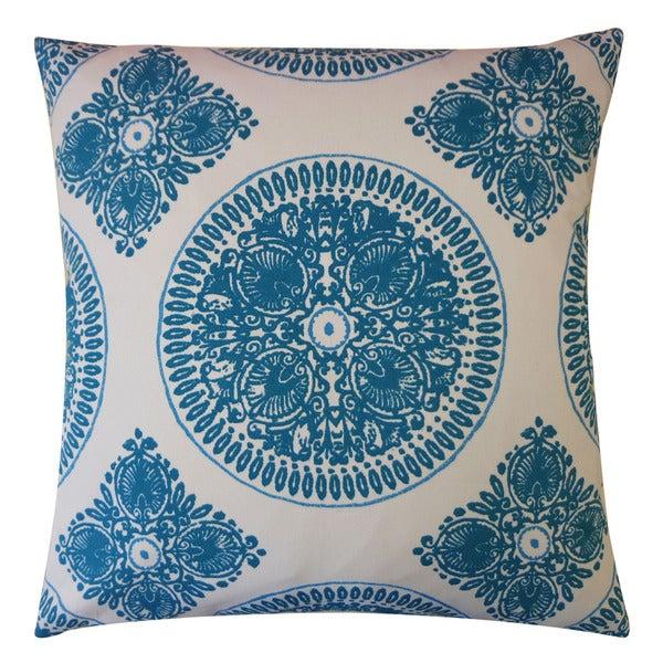"""Handmade Medallion Teal Pillow - 20"""" x 20"""""""