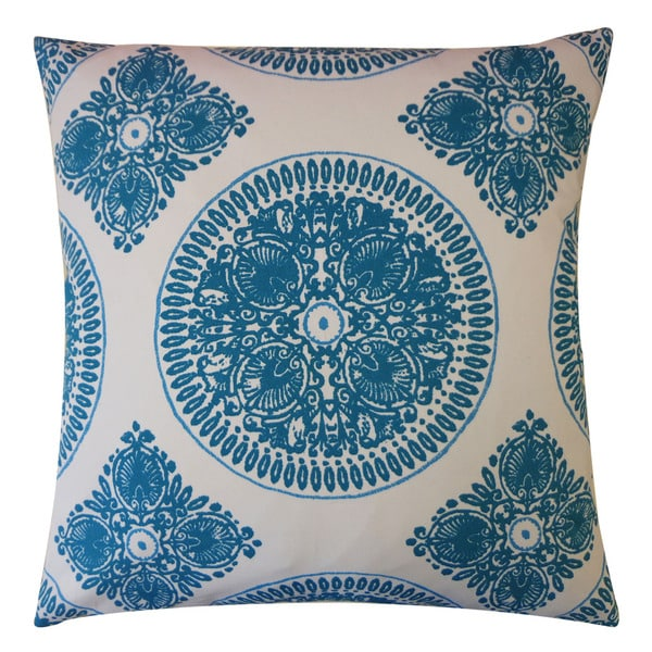 Jiti 'Medallion' Teal 20-inch Pillow