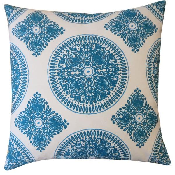 Jiti 'Medallion' Teal 24-inch Pillow