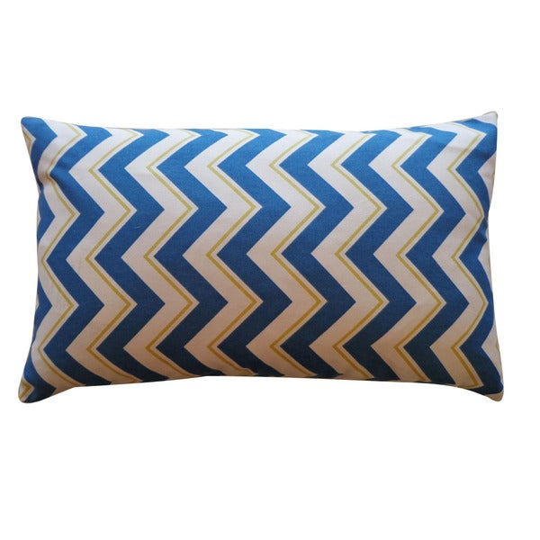 "Handmade Alberta Blue Down Pillow - 12"" x 20"""
