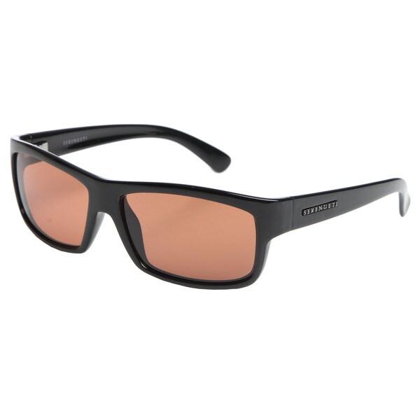 Serengeti 'Martino' Shiny Black Sleek Rectangular Sunglasses