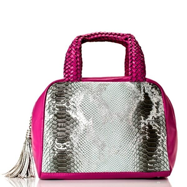 Vintage Reign Pink and Silver Leather Snake Print Bowler Bag