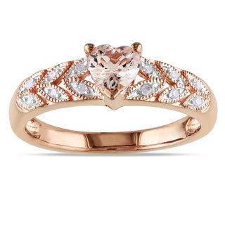 Miadora Rose Plated Silver Morganite and Diamond Heart Ring