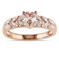 Miadora Rose Plated Silver Morganite and Diamond Heart Ring