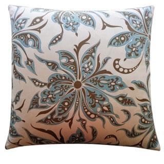 Jiti Cream Floral Cotton Accent Pillow - 26 x 26