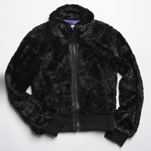 CoffeeShop Kids Girls Black Faux Fur Jacket
