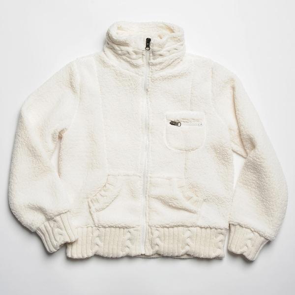 CoffeeShop Kids Girl's Ivory Sherpa Fleece Zip-up Jacket