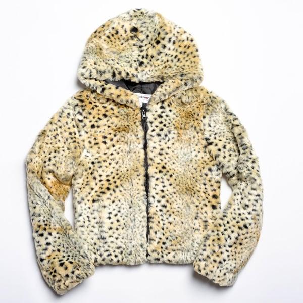CoffeeShop Girls Kids Faux Fur Animal Print Hooded Jacket