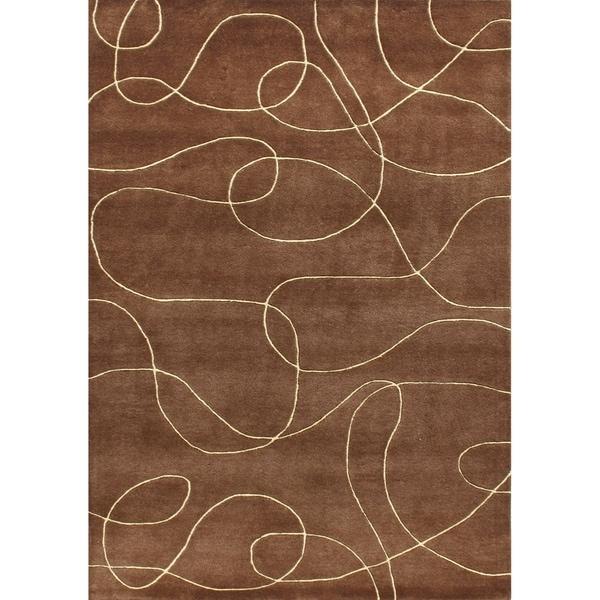 Alliyah Handmade Brown New Zealand Blend Wool Rug - 9 x 12