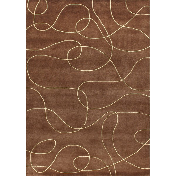 Alliyah Handmade Brown New Zealand Blend Wool Rug 9x12