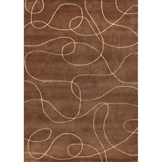 Alliyah Handmade Brown New Zealand Blend Wool Rug 9x12