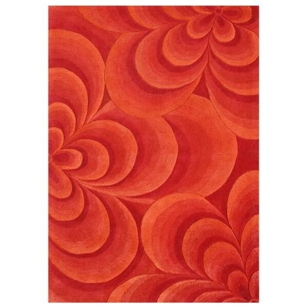 Alliyah Handmade Red Flowers New Zealand Wool Blend Rug