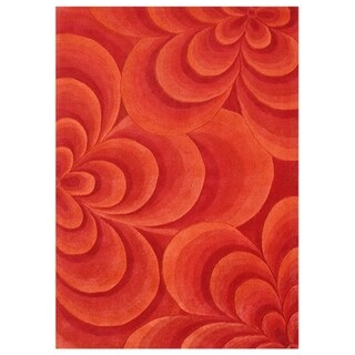 Alliyah Handmade Red Flowers New Zealand Wool Blend Rug (10' x 12')