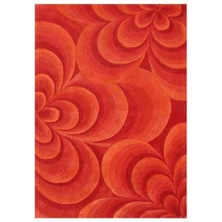 Alliyah Rugs Handmade Hand Tufted Red 3d Flowers New