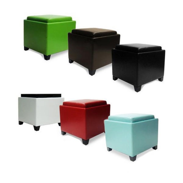 Armen Living Contemporary Storage Ottoman with TrayFree