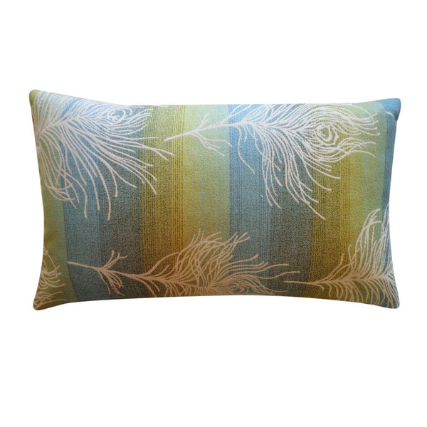 Jiti 'Feather Negative' Green 12-inch x 20-inch Pillow
