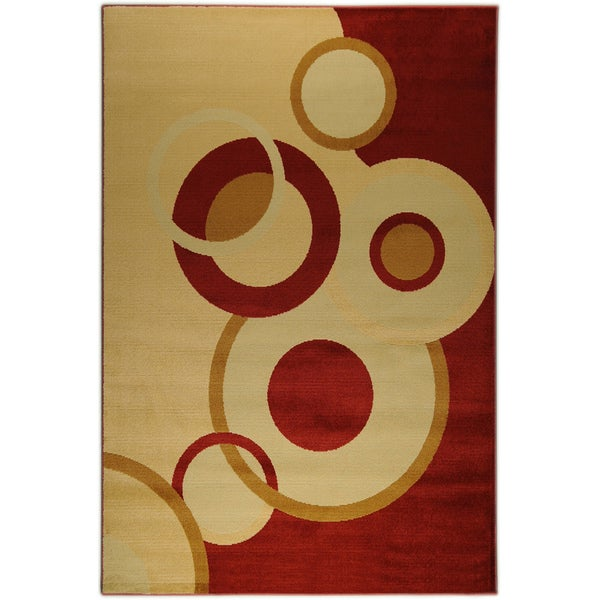 Antep Collection Circles Red Runner Rug (2' x 7')