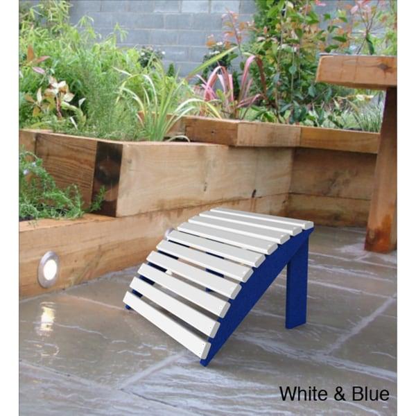 Malibu White/ Blue Patio Footstool