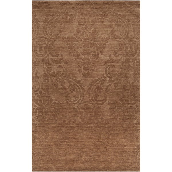 Hand-crafted Solid Casual Envoy Brown Wool Rug (3'3 x 5'3)