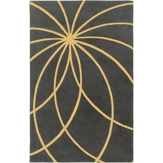 Hand-tufted Escort Iron Ore Floral Wool Rug (6' x 9')