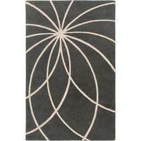 Hand-tufted Escalade Iron Ore Floral Wool Area Rug - 7'6 x 9'6