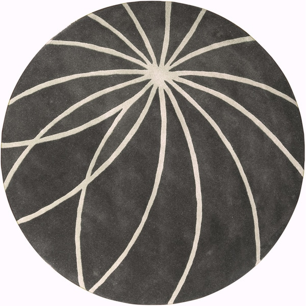 Hand-tufted Escalade Iron Ore Floral Wool Rug (8' Round)