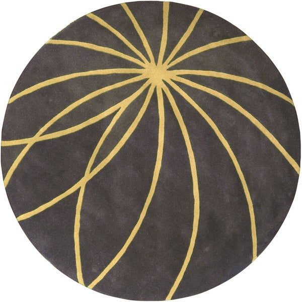 Hand-tufted Escort Iron Ore Floral Wool Rug (4' Round)