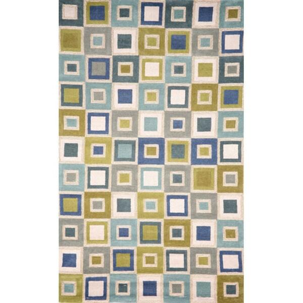Handmade Light Blue Square Rug (3'6 x 5'6)