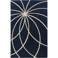 Hand-tufted Fairmont Dark Blue Floral Wool Area Rug - 7'6 x 9'6