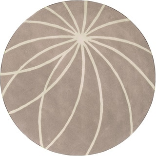 Hand-tufted Expo Safari Tan Floral Wool Rug (4' Round)
