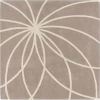 Hand-tufted Expo Safari Tan Floral Wool Area Rug (8' Square) - 8' x 8'