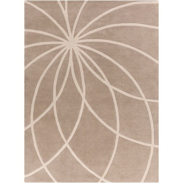 Hand-tufted Expo Safari Tan Floral Wool Area Rug - 8' x 11'