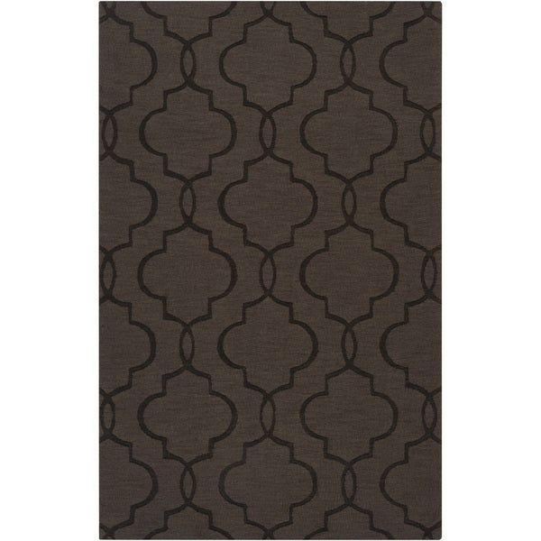 Hand-crafted Dark Brown Geometric Lattice Catera Wool Rug (5' x 8')