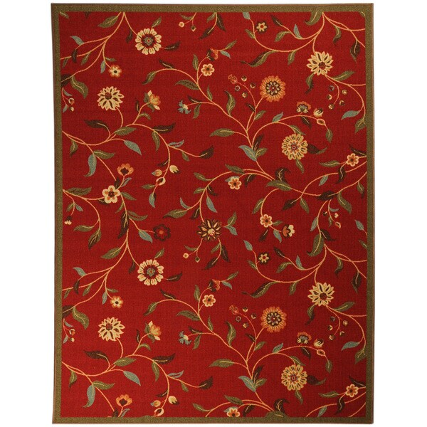 Ottomanson Printed Ottohome Floral Burgundy Runner Rug (5' x 6'6)