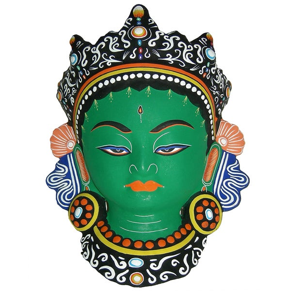 Large Green Tara Paper Mache Mask (Nepal)