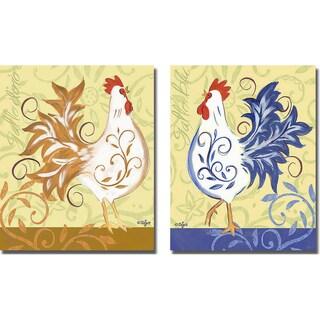 Rebecca Lyon 'Gallo d'Oro and Gallo Blu' 2-piece Canvas Art Set
