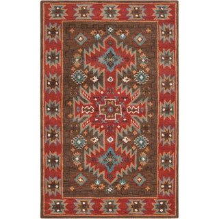 Hand-tufted Chocolate Southwestern Aztec Cremona Wool Rug (3'3 x 5'3)