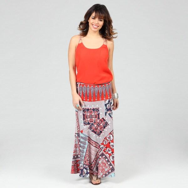 Lola P Women's Georgette Printed Long Skirt