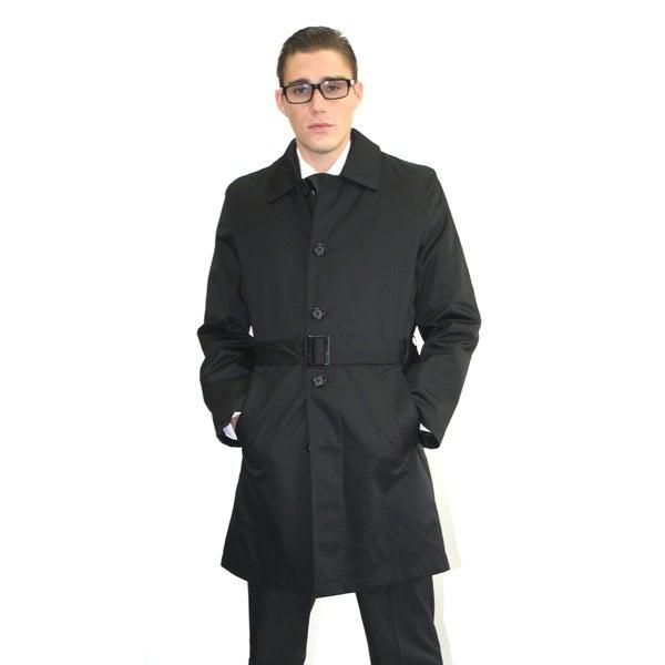 Ferrecci Men's Black Belted Trench Coat