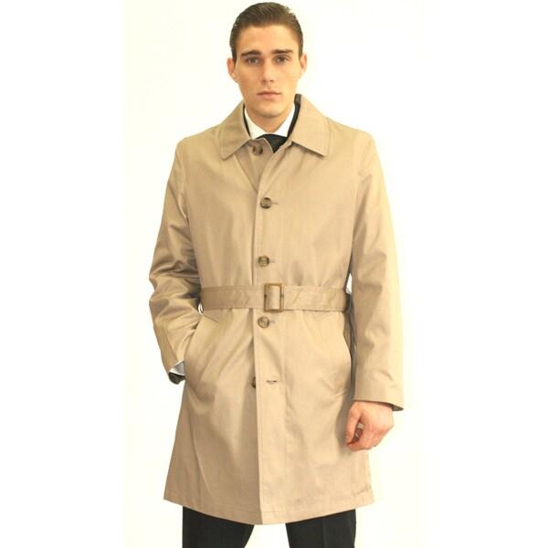 Ferrecci Men's Cream Belted Trench Coat