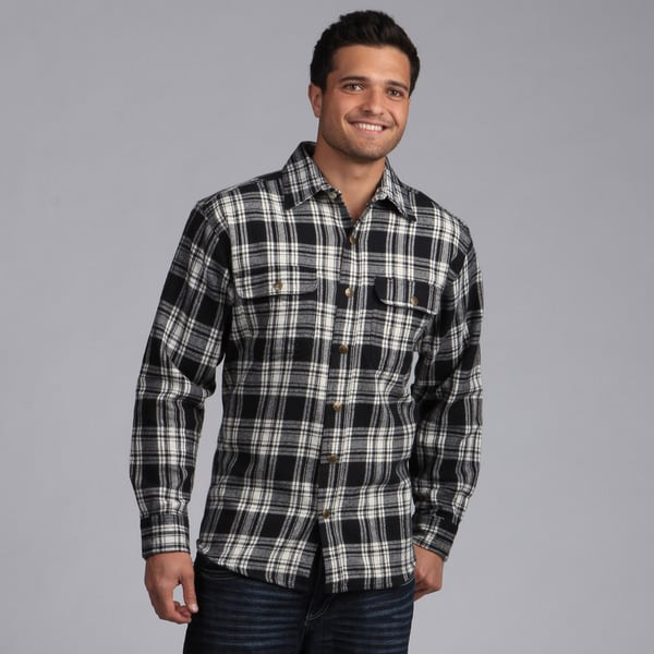 Farmall ih men 39 s 39 brawny 39 flannel snap button shirt free for Mens shirts with snaps instead of buttons